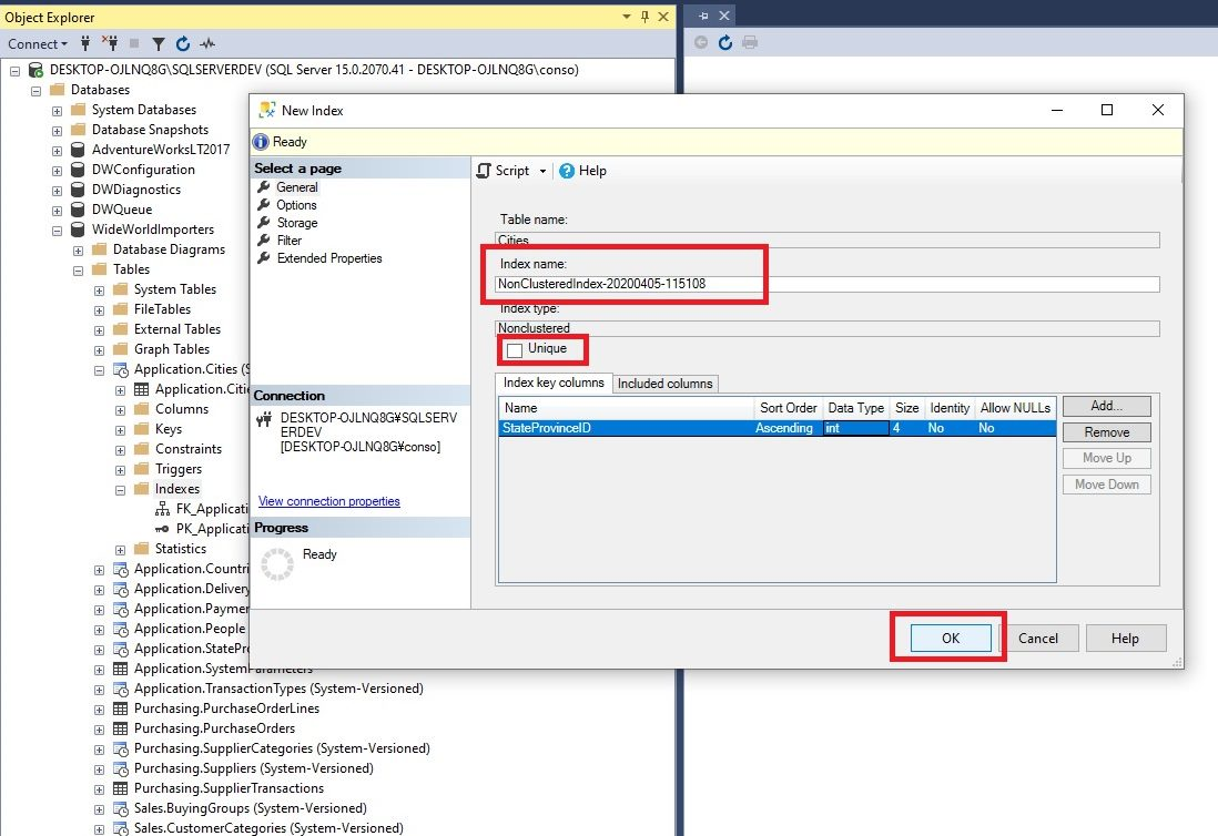 Creating indexes in ssms Step 4